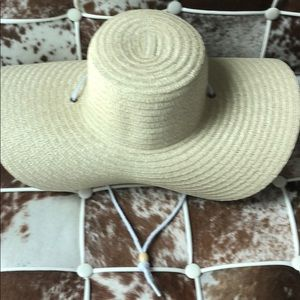 Floppy Woven sunhat sun hat with trim and neck tie
